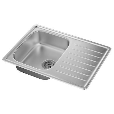 FYNDIG inset sink, 1 bowl with drainboard stainless steel 15 cm 34 cm 40 cm 48 cm 68 cm 50 cm 70 cm 50 cm 20.4 l