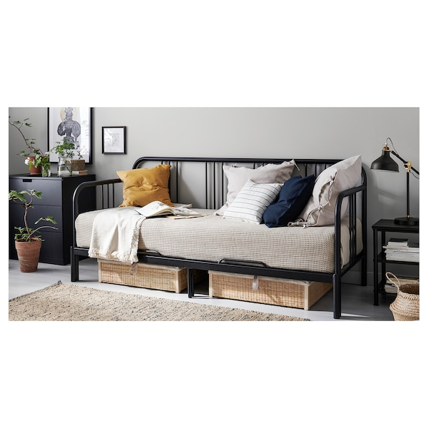 FYRESDAL day-bed frame black 207 cm 88 cm 94 cm 163 cm 207 cm 200 cm 80 cm