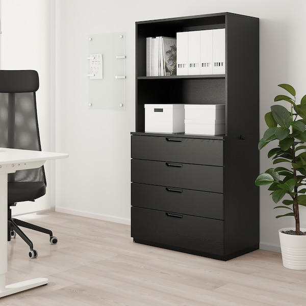 GALANT Storage combination with filing, black stained ash veneer, 80x160 cm