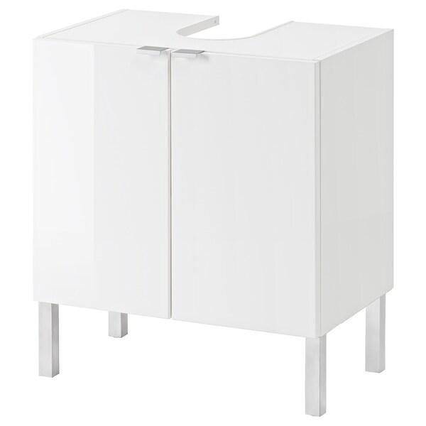 GETRYGGEN Washbasin base cabinet with 2 door, high-gloss white, 60x38x66 cm