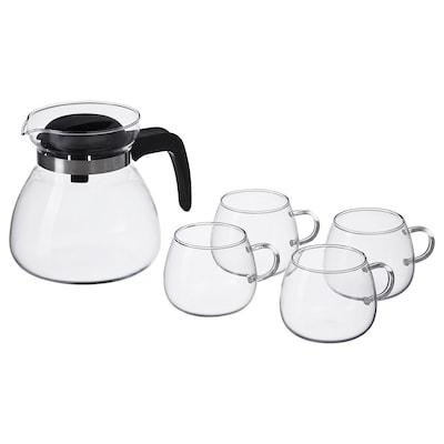 GLASBULT 5-piece tea/coffee set clear glass