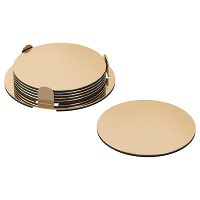 GLATTIS Coasters with holder, brass-colour, 8.5 cm