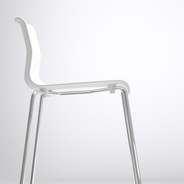 GLENN Bar stool, white/chrome-plated, 66 cm