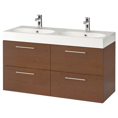 GODMORGON / BRÅVIKEN Wash-stand with 4 drawers, brown stained ash effect/Dalskär tap, 120x48x68 cm