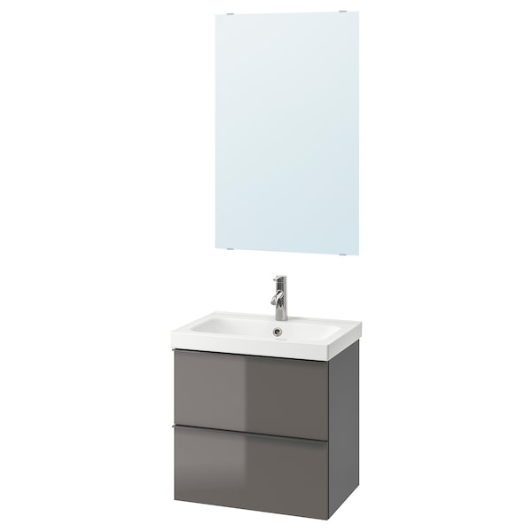 GODMORGON / ODENSVIK Bathroom furniture, set of 4, high-gloss grey/Dalskär tap, 63 cm
