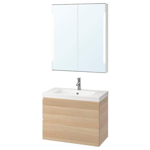 GODMORGON / ODENSVIK Bathroom furniture, set of 4, white stained oak effect/Dalskär tap, 83 cm