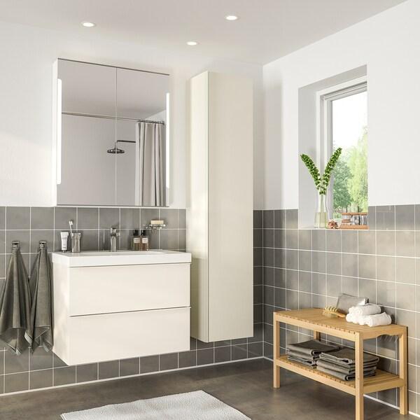 GODMORGON / ODENSVIK Bathroom furniture, set of 5, high-gloss white/Brogrund tap, 83 cm