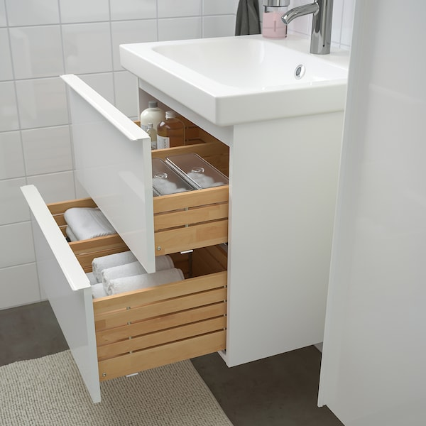 GODMORGON / ODENSVIK Bathroom furniture, set of 5, high-gloss white/Dalskär tap, 63 cm