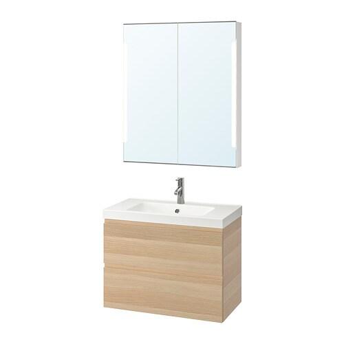 Godmorgon Odensvik Bathroom Furniture Set Of 4 White Stained Oak Effect Dalskär Tap