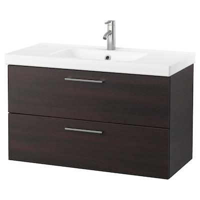 GODMORGON / ODENSVIK Wash-stand with 2 drawers, black-brown/Dalskär tap, 103x49x64 cm