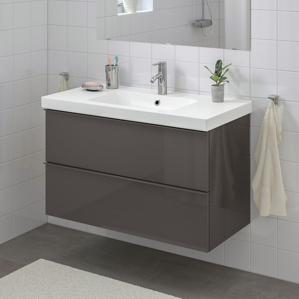 GODMORGON / ODENSVIK Wash-stand with 2 drawers, high-gloss grey/Dalskär tap, 103x49x64 cm