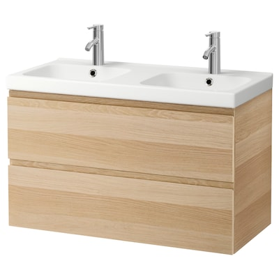 GODMORGON / ODENSVIK Wash-stand with 2 drawers, white stained oak effect/Dalskär tap, 103x49x64 cm