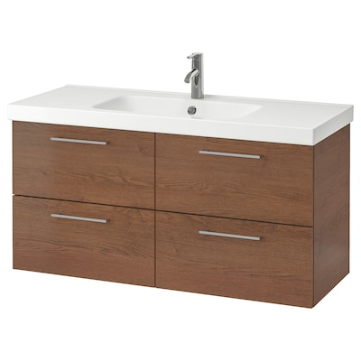 GODMORGON / ODENSVIK Wash-stand with 4 drawers, brown stained ash effect/Dalskär tap, 123x49x64 cm