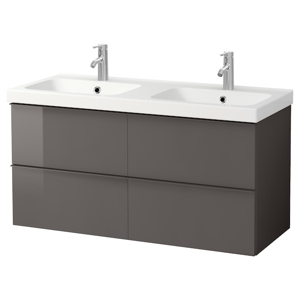 GODMORGON / ODENSVIK Wash-stand with 4 drawers, high-gloss grey/Dalskär tap, 123x49x64 cm