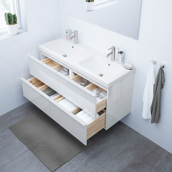 GODMORGON / ODENSVIK Wash-stand with 4 drawers, high-gloss white/Dalskär tap, 123x49x64 cm