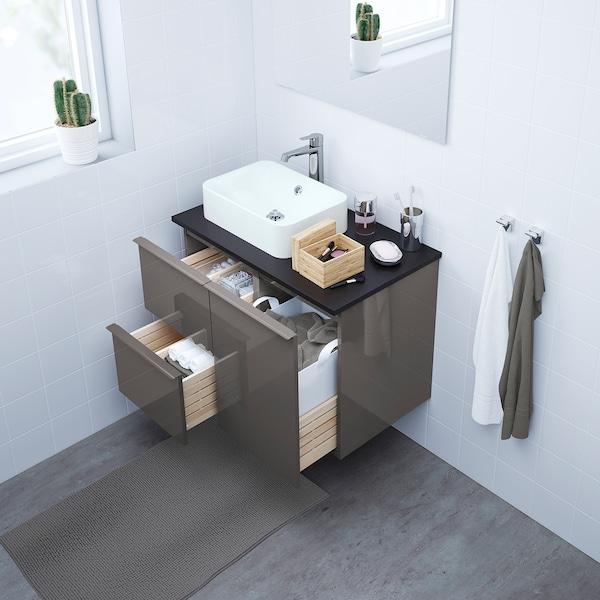 GODMORGON/TOLKEN / HÖRVIK Wash-stand with 45x32 wash-basin, high-gloss grey/anthracite Brogrund tap, 82x49x72 cm
