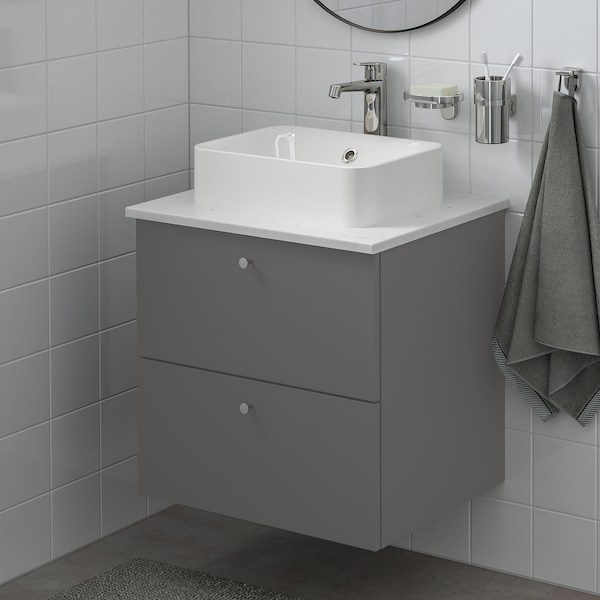 GODMORGON/TOLKEN / HÖRVIK Wsh-stnd w countrtop 45x32 wsh-bsn, Gillburen dark grey/marble effect Brogrund tap, 62x49x72 cm