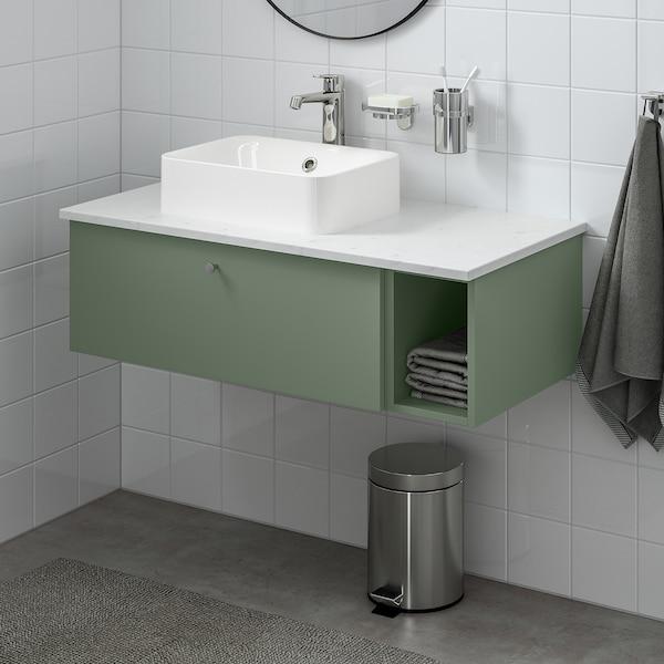 GODMORGON/TOLKEN / HÖRVIK Wsh-stnd w countrtop 45x32 wsh-bsn, Gillburen grey-green/marble effect Brogrund tap, 102x49x43 cm