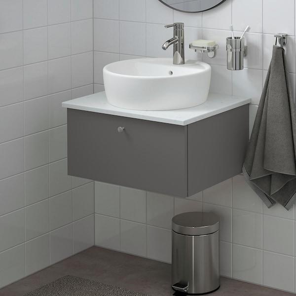GODMORGON/TOLKEN / TÖRNVIKEN Wsh-stnd w countertop 45 wsh-basin, Gillburen dark grey/marble effect Dalskär tap, 62x49x45 cm