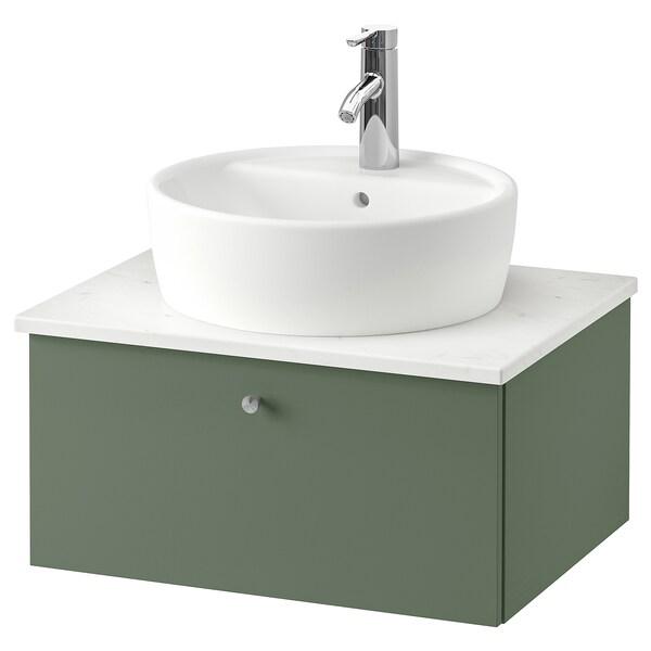 GODMORGON/TOLKEN / TÖRNVIKEN Wsh-stnd w countertop 45 wsh-basin, Gillburen grey-green/marble effect Dalskär tap, 62x49x45 cm