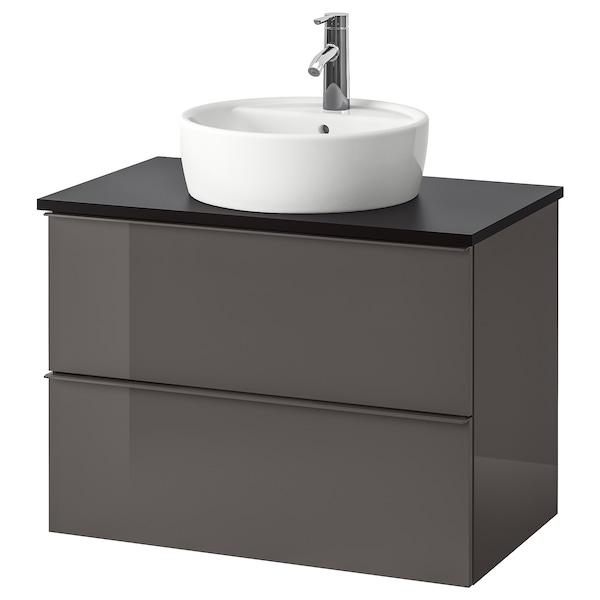 GODMORGON/TOLKEN / TÖRNVIKEN Wsh-stnd w countertop 45 wsh-basin, high-gloss grey/anthracite Dalskär tap, 82x49x74 cm