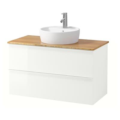 GODMORGON/TOLKEN / TÖRNVIKEN Wsh-stnd w countertop 45 wsh-basin, high-gloss white/bamboo Dalskär tap, 102x49x74 cm