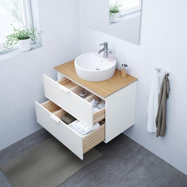 GODMORGON/TOLKEN / TÖRNVIKEN Wsh-stnd w countertop 45 wsh-basin, white/bamboo Dalskär tap, 82x49x74 cm
