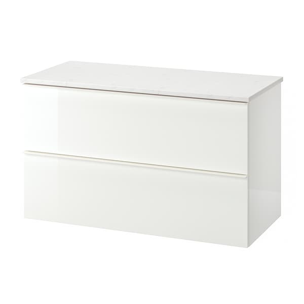 GODMORGON / TOLKEN Wash-stand with 2 drawers, high-gloss white/marble effect, 102x49x60 cm