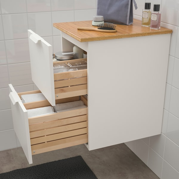 GODMORGON / TOLKEN Wash-stand with 2 drawers, white/bamboo, 42x49x60 cm