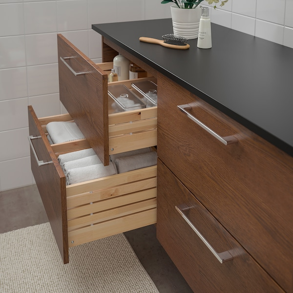 GODMORGON / TOLKEN Wash-stand with 4 drawers, brown stained ash effect/anthracite, 122x49x60 cm