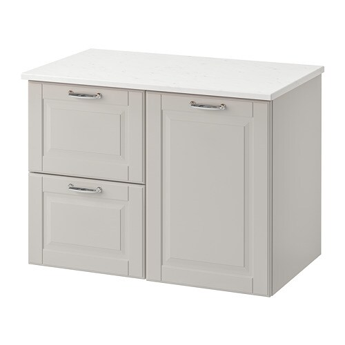 Godmorgon Tolken Wash Stand With 3 Drawers Kasjön Light Grey Marble Effect