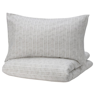 GÖMBLOMMA Quilt cover and 2 pillowcases, grey/white, 200x200/60x70 cm