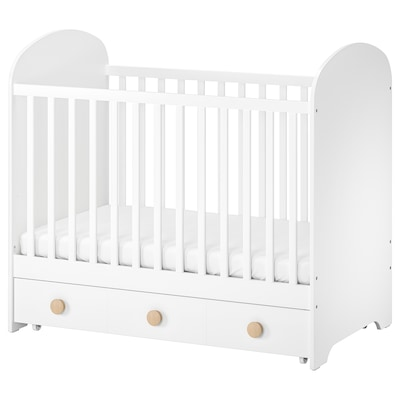 GONATT Cot with drawer, white, 60x120 cm