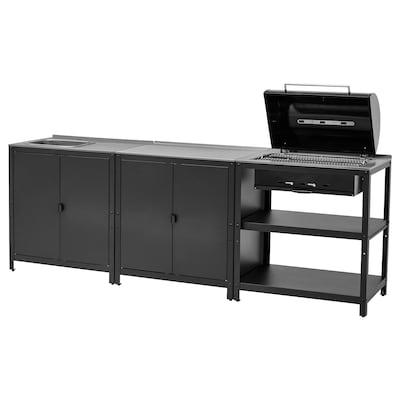 GRILLSKÄR Kitchen sink ut/chrcl bbq, outdoor, stainless steel, 258x61 cm