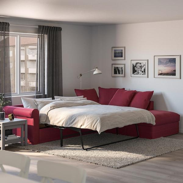 GRÖNLID corner sofa-bed, 4-seat with open end/Ljungen dark red 104 cm 68 cm 98 cm 235 cm 271 cm 60 cm 49 cm 140 cm 200 cm 12 cm