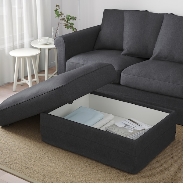 GRÖNLID footstool with storage Sporda dark grey 98 cm 73 cm 49 cm 7 cm 105 l