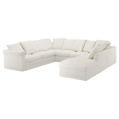 GRÖNLID u-shaped sofa, 6 seat with open end/Inseros white 104 cm 327 cm 252 cm 7 cm 18 cm 68 cm 60 cm 49 cm