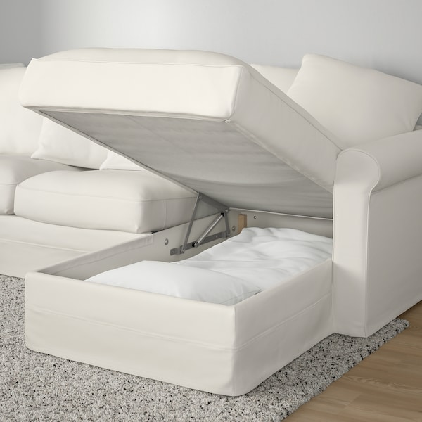 GRÖNLID Corner sofa-bed, 5-seat, with chaise longue/Inseros white