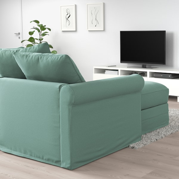 GRÖNLID Corner sofa-bed, 5-seat, with chaise longue/Ljungen light green