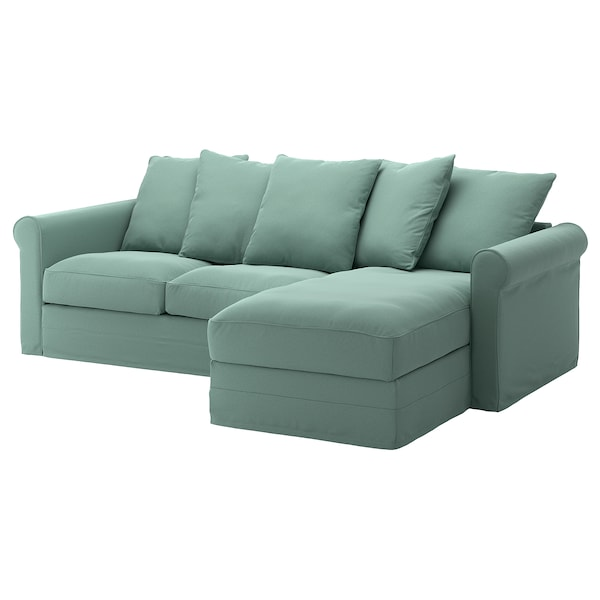 GRÖNLID Cover for 3-seat sofa, with chaise longue/Ljungen light green