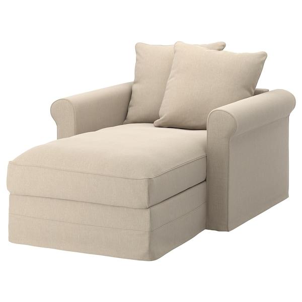 GRÖNLID Cover for chaise longue, Sporda natural