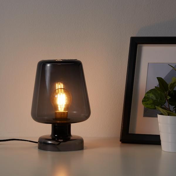 GULDALG Table lamp, glass blue, 25 cm