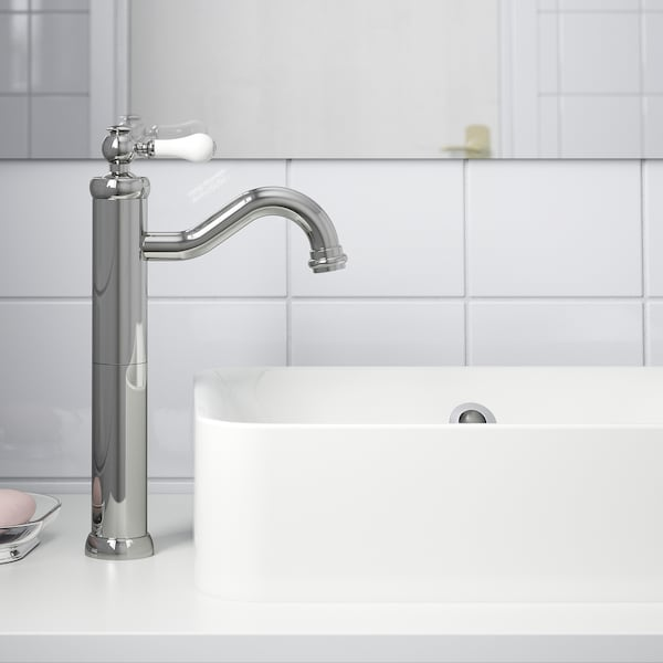 HAMNSKÄR Wash-basin mixer tap, tall, chrome-plated