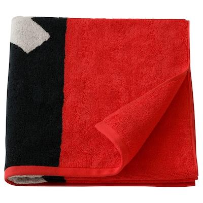 HARBOÅN Bath towel, red/black, 70x140 cm