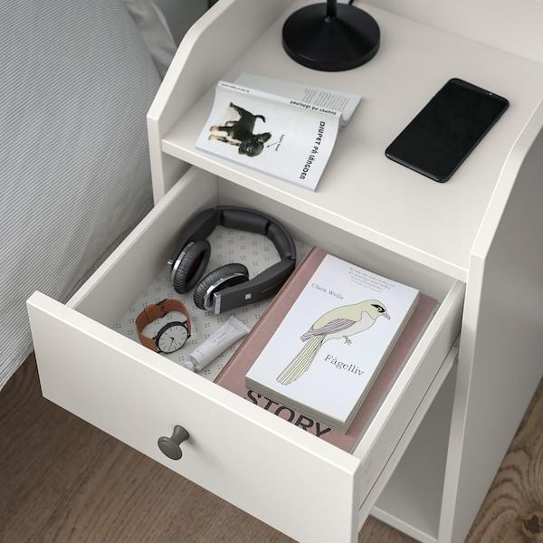 HAUGA Bedside table, white, 40x36 cm