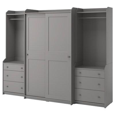 HAUGA Wardrobe combination, grey, 258x55x199 cm