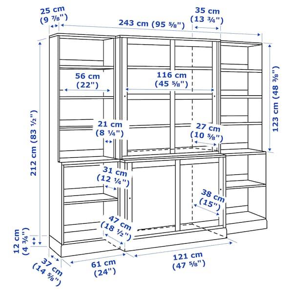 HAVSTA Storage comb w sliding glass doors, white, 243x47x212 cm