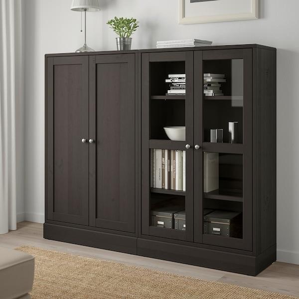 HAVSTA Storage combination w glass-doors, dark brown, 162x37x134 cm