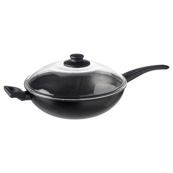 HEMLAGAD Wok with lid, black, 28 cm