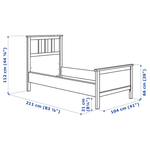 HEMNES Bed frame, white stain/Lönset, 90x200 cm